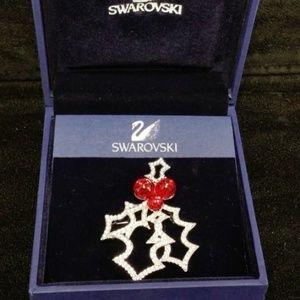 Christmas Holiday Holly Swarovski Pin // Brooch